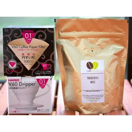 Pack dégustation Hario V60 + Ethiopie Yirgacheffe Wote